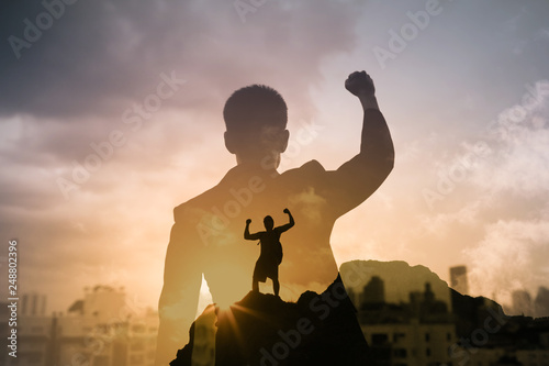 Successful determined man in the city concept. Canvas Print