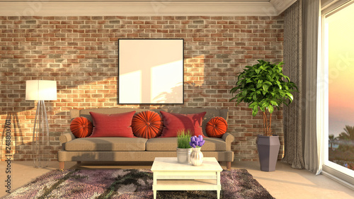 Foto auf AluDibond Boho-Stil mock up poster frame in interior background. 3D Illustration