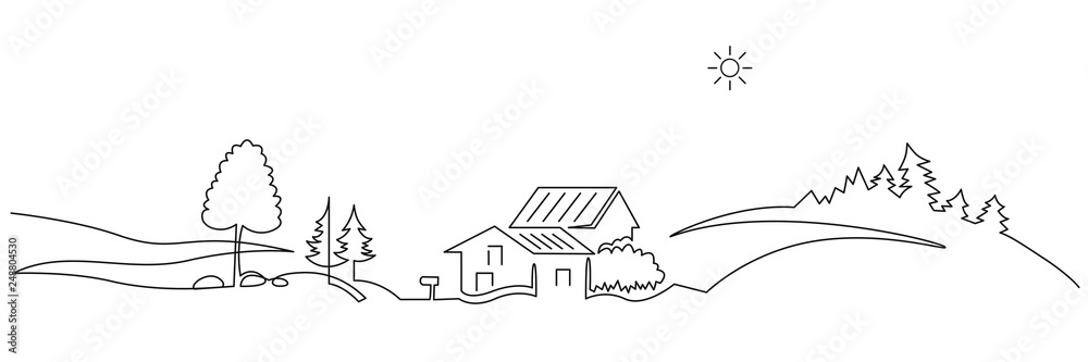 Fototapeta Rural landscape continuous one line vector drawing