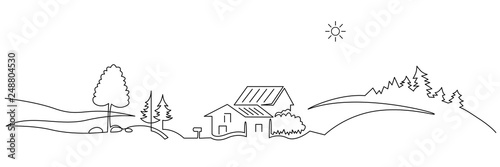 Rural landscape continuous one line vector drawing