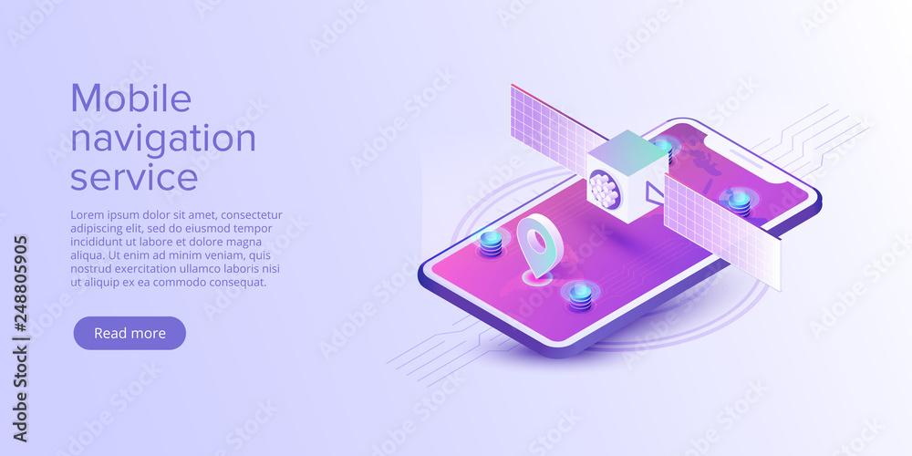 Fototapeta GPS navigation app concept in isometric vector illustration. Smartphone application for global positioning system. Satellite radionavigation or tracking system on mobile device.