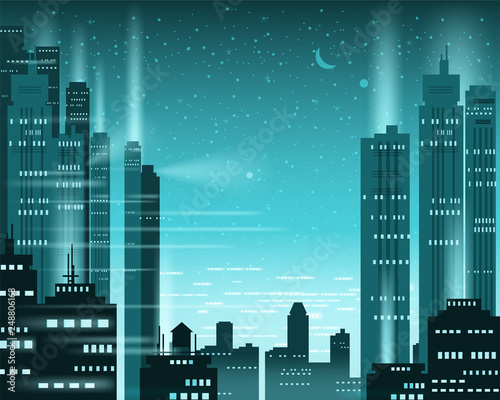 Cityscape metropolis night lights of a big city, illuminated neon, skyscrapers, downtown, skyline, silhouettes of buildings. Vector, illustration, isolated, background, template, banner Wall mural