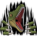 Fototapeta Dinusie - Cartoon raptor mascot ripping