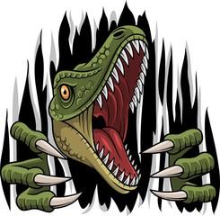Fototapeta Zwierzęta Cartoon raptor mascot ripping