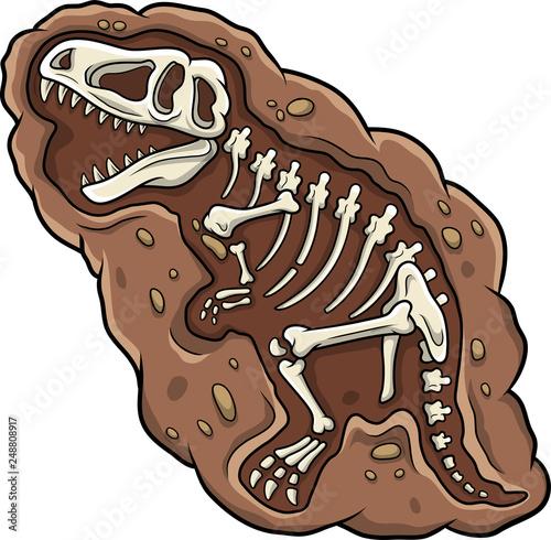 Obraz na plátně Cartoon T-rex dinosaur fossil