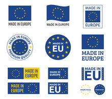 Made In Europe Labels Set, European Union Product Emblem