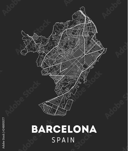 city map of Barcelona with well organized separated layers. Canvas Print
