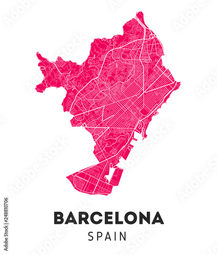 city map of Barcelona with well organized separated layers. Wallpaper Mural