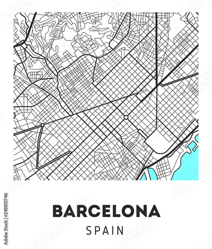 Photo city map of Barcelona with well organized separated layers.