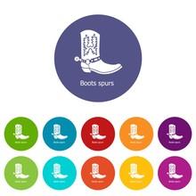 Boot Spurs Icons Color Set Vec...