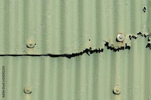 Fotografie, Obraz  緑色の古いトタン壁