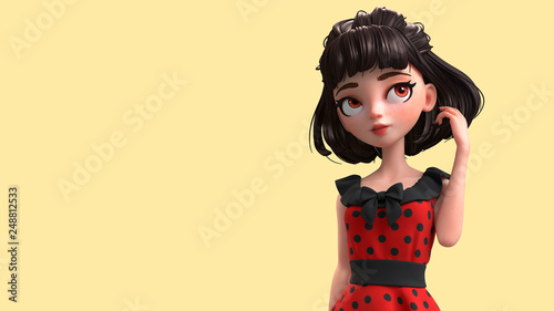 3d Cartoon Character Of A Brunette Retro Girl With Big Brown Eyes Closeup Of A Beautiful