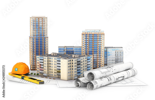 Architecture. High-rise buildings on the drawings, isolated on white background. 3d illustration - 248813373