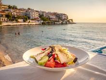Greek Salad In Sunset Light At...