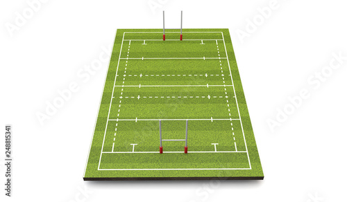 Rugby pitch with lines and goals. 3D Rendering Poster Mural XXL