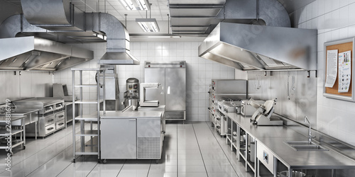 Fotografia  Industrial kitchen. Restaurant kitchen. 3d illustration