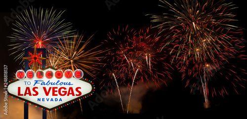 Fotografie, Obraz  Welcome to Fabulous Las Vegas with colorful firework background