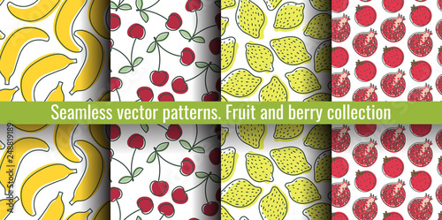 Seamless pattern set  Juicy fruit and berry collection