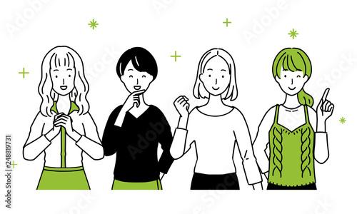 Billede på lærred Illustration of ladies lining up.