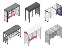 Bus Stop Icons Set. Isometric ...