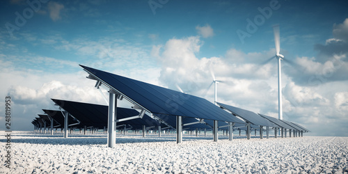 Obraz Modern and futuristic aesthetic black solar panels of large photovoltaic power station with wind turbines in background in nice sunny afternoon weather with partial cloudy blue sky. 3d rendering. - fototapety do salonu