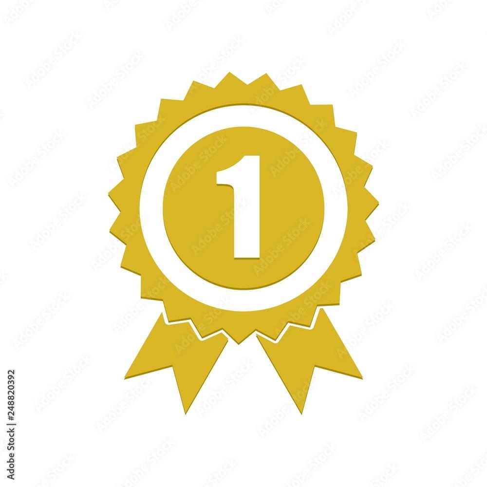 Fototapeta Number 1 winner ribbon award badge, Gold medal