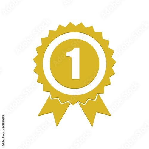 Obraz Number 1 winner ribbon award badge, Gold medal - fototapety do salonu