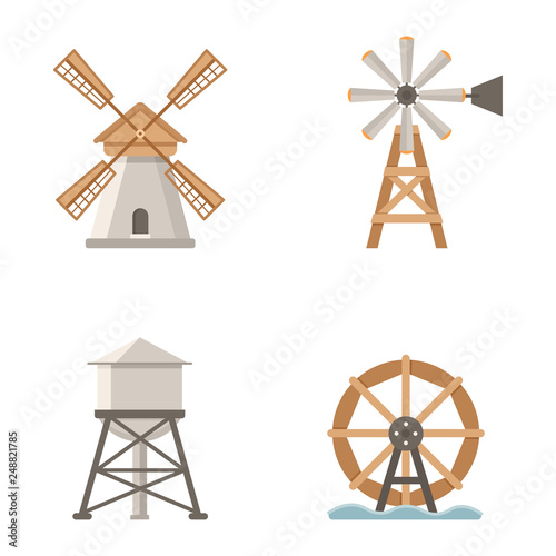 Stampa su Tela Set of vector icons mills and water tower. Buildings on the farm