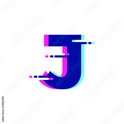 Fotografie, Obraz  J Letter Glitch Style Modern Font Logo