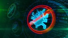 Antivirus Symbol On Cyber Back...