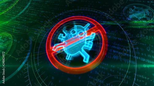 Fotografie, Obraz  Antivirus symbol on cyber background