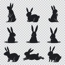 Rabbit Black Silhouette. Vector Cartoon Bunny Set Isolated On Transparent Background.