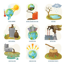 Global Warming Natural Resource Depletion Problems Vector. Waste Disposal, Air And Water Pollution, Ozone Layers And Deforestation Destruction Forests. Environment Problematic In Flat Style