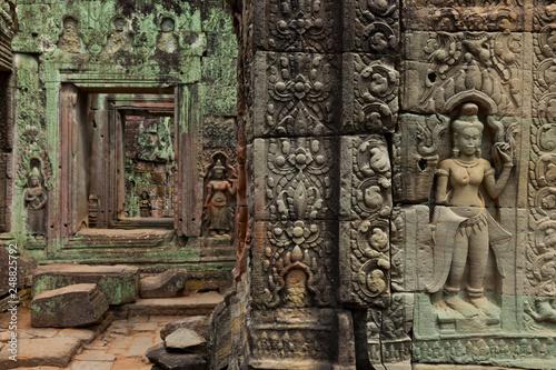 Plakat Świątynia Preah Khan. Angkor. Miasto Siem Reap, prowincja Siem Reap. Kambodża, Azja