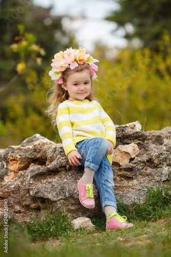 Beautiful Little Girl Outdoors In A Blooming Spring Garden On A Sunny Day Little Girl In Sunny Spring Summer Girl Fashion Happy Childhood Springtime Small Child Natural Beauty Childrens Day Buy This