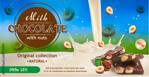 Vector image of pieces of chocolate with a splash of milk and falling pieces of hazelnut Tablou Canvas