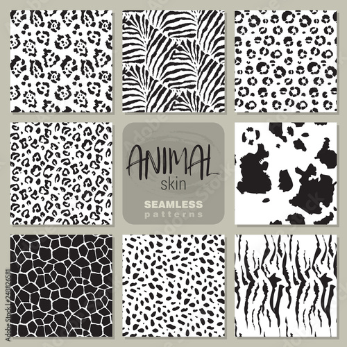 Photo  Collection of eight vector seamless patterns with animal skin zebra, leopard, jaguar, giraffe cow