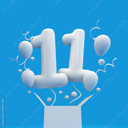 Happy 11th Birthday Surprise Balloon And Box 3D Rendering