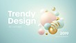 Flowing soft spheres. Abstract background with 3d geometric shapes. Modern cover design. Vector realistic illustration