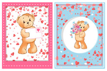 Teddy Holding Valentine Postcard Decorated By Pink Frame, Toy With Flowers In Center Of Round Adorned By Hearts. Romantic Card With Furry Bear Vector