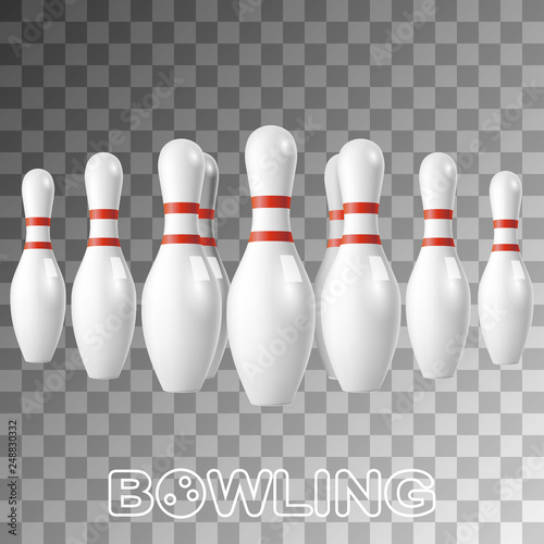 Realistic bowling white pins isolated on transparent - Buy