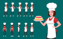 Female Chef Character Model Sheet And Turnaround