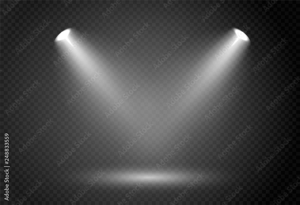 Fototapety, obrazy: Spotlight effect for theater concert stage. Abstract glowing light of spotlight illuminated on transparent background.
