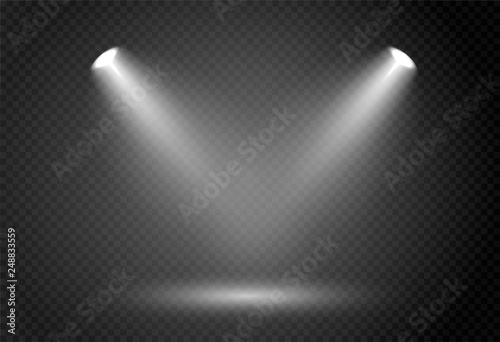 Obraz Spotlight effect for theater concert stage. Abstract glowing light of spotlight illuminated on transparent background. - fototapety do salonu