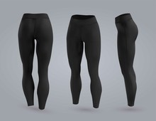 Women's Black Leggings Mockup In Front And Back View, Isolated On A Gray Background. 3D Realistic Vector Illustration