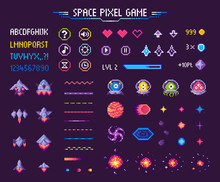 Space Pixel Game Isolated Vect...