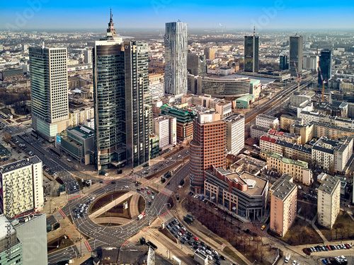 Plakat Polskie miasta   warsaw-poland-february-10-2019-beautiful-panoramic-aerial-drone-view-to-panorama-cityscape-of-warsaw-modern-city-pkin-and-rondo-1-office-skyscraper-located-at-rondo-onz