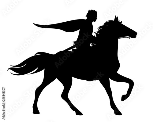 Fototapeta prince with crown and cloak riding a running horse - black vector silhouette of