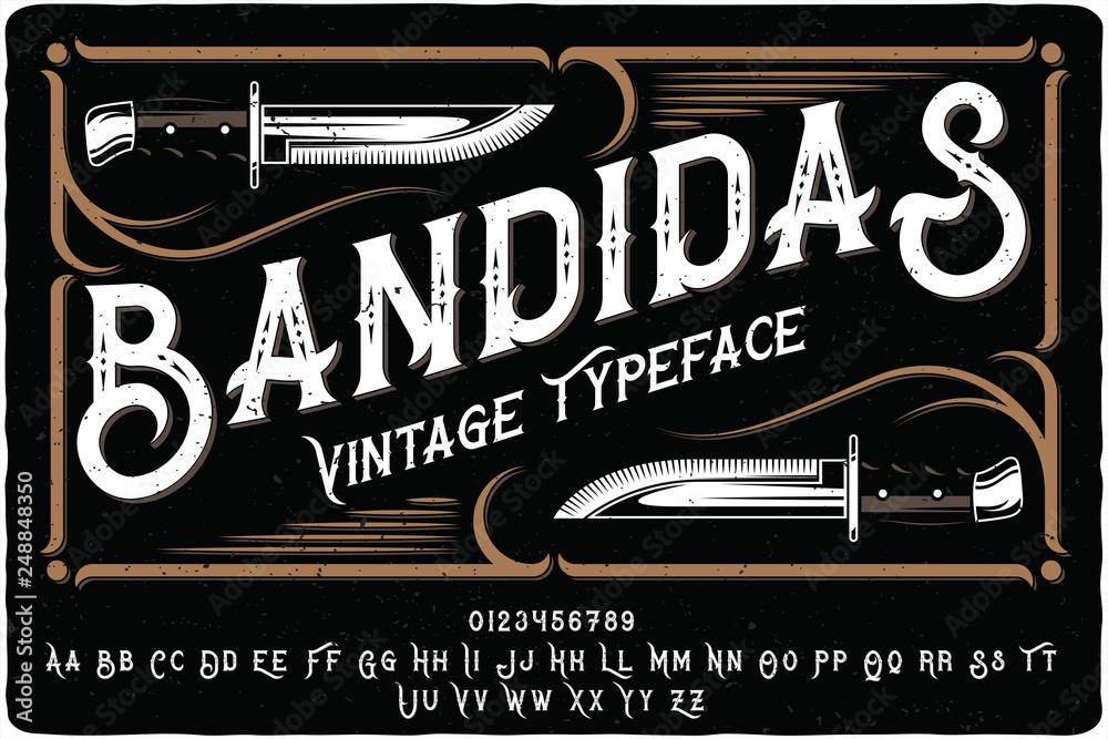 Fototapeta Vintage font set named