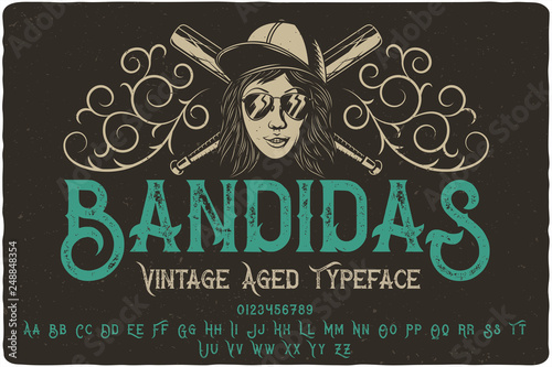 Vintage font set named Bandidas with decorative ornate and illustration of a b Canvas Print